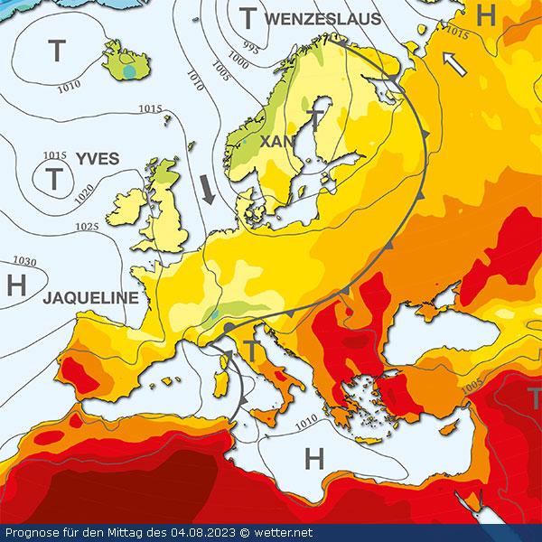 Isobarenkarte Europa